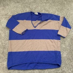 Wallace Sweaters - Wallace Sweater Blue & Brown Striped  3/4 Sleeve